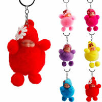 Cute Bowknot Sleeping Baby Bowtie Fluffy Pompom Fur Plush Doll Keychain Key Ring