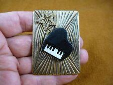 (M322-18) Piano keys music white rhinestone star pin brass brooch I love pianos