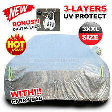 3XXL Large Aluminum Waterproof Outdoor Car Cover Double Thick Rain UV Resistant