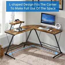 L-Shaped Computer Desk Corner Writing PC Workstation with Monitor Stand for Home