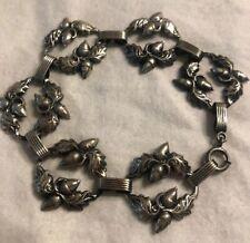 """Vintage Danecraft Sterling Silver Leaves Acorn Wreath Bracelet 7.5"""""""
