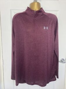 Under Armour Heatgear Mens Purple 1/4 Zip Fitted Stretch Active Top Size 2XL VGC