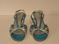 New NEXT Strappy Shoes Size 5/38 heels Green-Blue & Silver