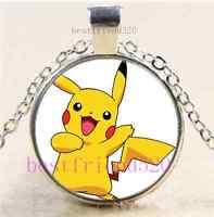 Pokemon Pikachu Photo Cabochon Glass Dome Silver Chain Pendant Necklace