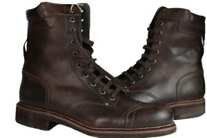 DIESEL CASSIDY BOOTS Men's High Top Lace Up Genuine Leather Boots, Dark Brown