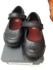 Girls clarkes School shoes size 9H New Black Leather