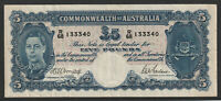 Australia 1941 ; Armitage/McFarlane C of A Five Pound Pre-Decimal Paper Banknote