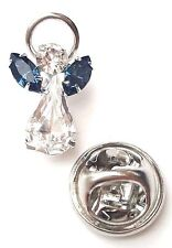 Elements Birthstone Guardian Angel Pin December Blue Zircon Swarovski Crystal