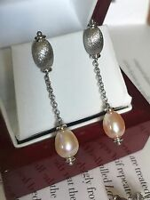 NEW 9CT WHITE GOLD GENUINE PEACH CULTURED PEARL DROP EARRINGS - GS3