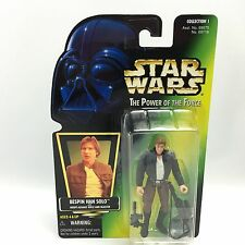 Star Wars POTF2/BESPIN HAN SOLO Action Figure/Kenner 1997/Green HOLO Card MOC