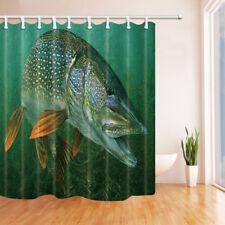 3D Print Pike Fish Natural Wild Animal Waterproof Shower Curtain Rugs Set&Hooks