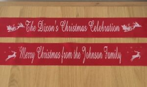 Personalised Christmas Table Runner Banner Decoration - Red ,Green,Black