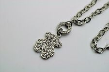 Animal Style Crystal Bear Pendant Silver Plated Fashion Necklace Jewelry A237