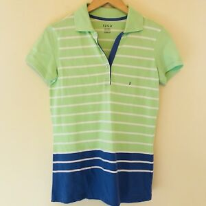 Izod Womens Size XS Golf Polo Shirt Blue Green Striped Short Sleeve Top NWT 158