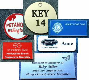 Engraved 2 ply plastic signs, plaques - Custom size shape font corner options