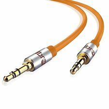 IBRA® 2M 3.5mm Stereo Headphone Audio Jack to JACK/AUX Gold Cable - Wired Orange