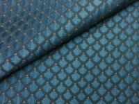 Designer Drapery Upholstery Fabric Diamond-Like Jacquard - Blue / Gold
