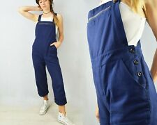 Workwear Dungarees French Cotton Overalls Bibs Navy Blue - Unisex - XS S M L