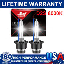 2x D2S 35W 8000K HID Xenon Replacement Low/High Beam Headlight Lamp Bulbs Blue