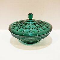Apple Green  Pressed Glass Button Indiana Glass Co. Candy Nuts Dish With Lid