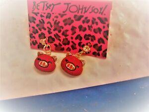 betsey johnson red pig face earrings