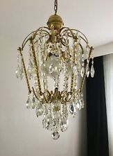 Vintage Brass Effect Crystal Drop Chandelier