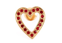 VINTAGE AVON BROOCH SCARF COAT LAPEL PIN HEART SHAPED RED RHINESTONES LOVE GIFT