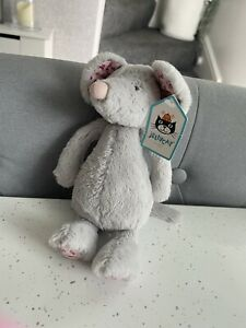 NEW Jellycat Small Grey Bashful Blossom Mouse Floral Mouse Rare Retired Soft Toy