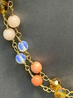 """Vintage 36""""  Crystal moon stone stone Beaded Necklace Sweater Style"""