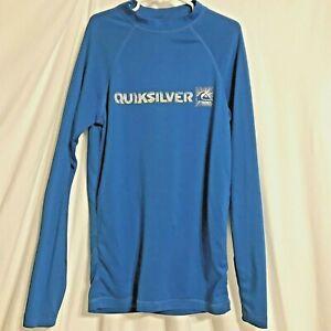 Quiksilver blue unisex sun protection Rash Guard shirt kids Youth 14 no tag