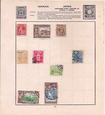 5 JAMAICA + 4 JAPAN stamps on an album page.