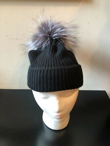 NEW Amicale Black Cashmere Genuine Gray Fox Fur Pompom Beanie