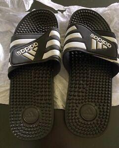 adidas Adissage Slide - Black/White, US Size 10