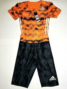 Adidas AZP SS PU Compressed Race Track Field Speedsuit Black Orange Mens Suit