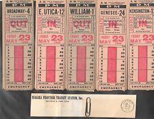 18 Lot diff 1952 Niagara Frontier Transit TICKET for  Main William Best Michigan