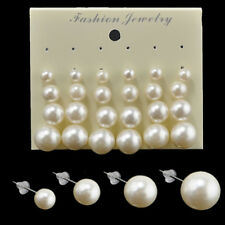 12 Pairs Cruncher Designs Fashion White Pearl Earrings Girl Women Ear Stud Beads