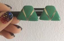 Silver Tone Green Turquoise Enamel Shield Fan Button Earrings