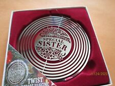 """Personalised Silver Tree Spinner SPECIAL SISTER Christmas 3"""" Ornament NEW INBOX"""