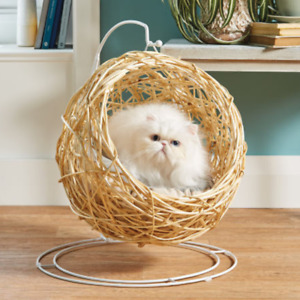 Hanging Cat Egg Chair With Cushion Natural Rattan Wicker Igloo Cave Pet Dog Bed