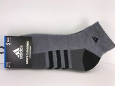 Men's ADIDAS Gray Cushioned Athletic Quarter Crew Socks - 3 PACK - $29 MSRP