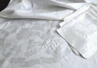 "Deco Damask Linen Tablecloth 88""x73"" 12 Napkins 23"", ""OKS"" Mono, Ribbons & Flora"