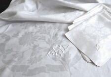 "Deco Damask Linen Tablecloth 88""x73"" 12 Napkins 23"", OKS Monogram Ribbons&Floral"