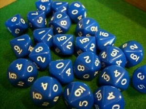 Blue Opaque d10s Dice. Koplow Games. Delivery is Free
