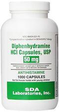 Generic Benadryl Allergy - Diphenhydramine (50mg) - 1000 Capsules, New