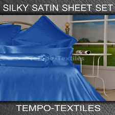SB/DB/QB/KB/KS LUXURY Silky Satin Fitted Flat Pillowcase Sheet Set in ROYAL BLUE
