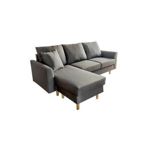 New L shape corner sofa fabric sofa couch settee Sofa with Footstool more than 4