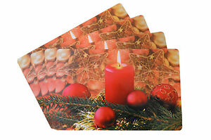 4 Stück Platzdeckchen Platzset Platzdecke Tischset abwaschbar Weihnachten -neu-