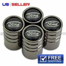 FORD VALVE STEM CAPS WHEEL TIRE BLACK CHROME- US SELLER VE09