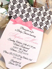 SET OF 10 Damask Baby Shower Invitation For Girl - Elegant Bow Sash!