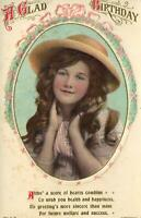 EARLY 1900's VINTAGE BEAGLES BEAUTIFUL YOUNG GIRL Birthday Greetings POSTCARD
